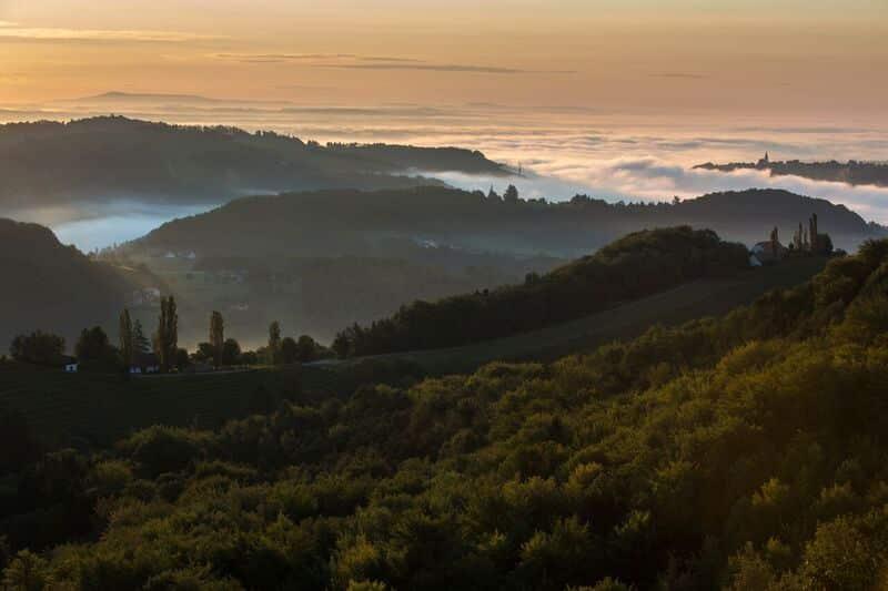 Kitzeck Landschaft Blick über Hügel